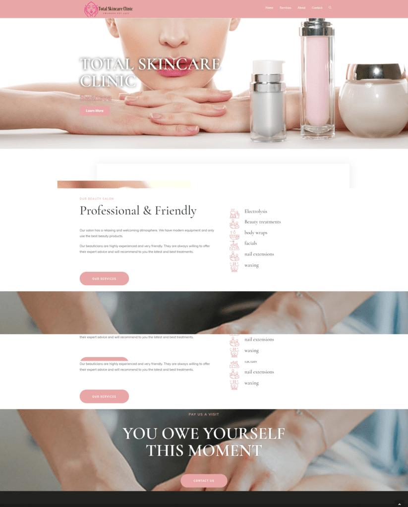 Skin care clinic website