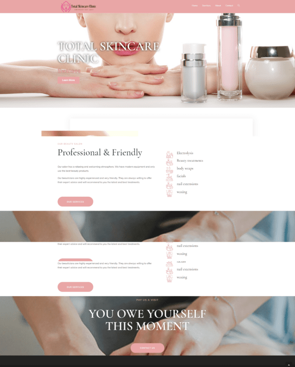 Skin care clinic website